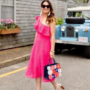 Lilly Pulitzer Callisto Dress Pink Lace 1-Shoulder